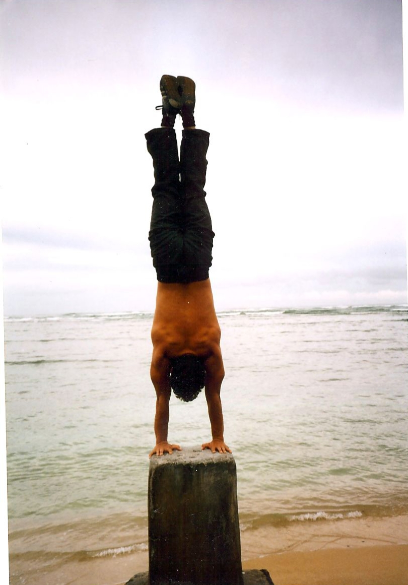 Handstand on a beach in Hawaii