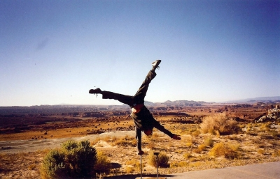 One armed handstand in the desert