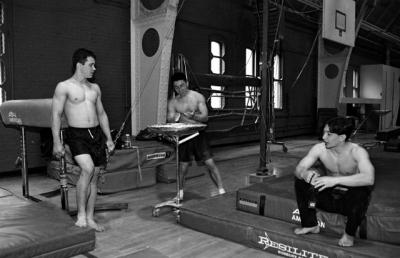 Breaktime for the MIT Men's Gymnasics team