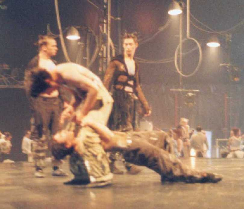 Group act in the animation before the National Circus School annual show