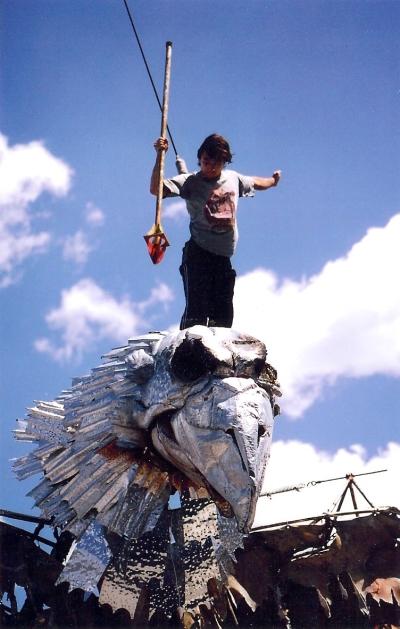 Flying acrobat killing a Thunder Bird in rehearsal for Kosmogonia