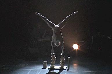 Circus artist doing a handstand